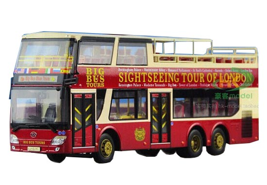 1:43 Scale Wine Red Die-Cast AnKai Sightseeing Double Dekcer Bus