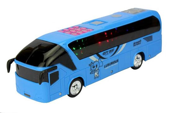 Kids Yellow / Blue Plastics Electric Tour Bus Toy