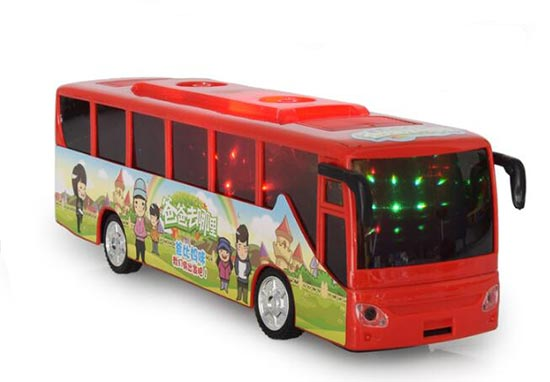 Kids White / Red / Green Plastics Electric Tour Bus Toy