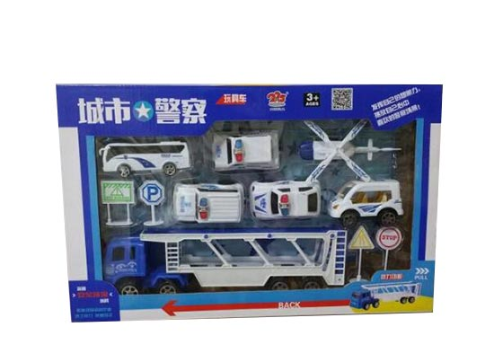 Kids White Five Police Theme Die-Cast Toys
