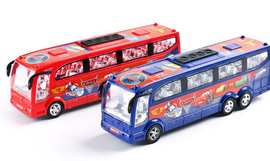 Kids Blue And Red Plastics Two Bus Toys