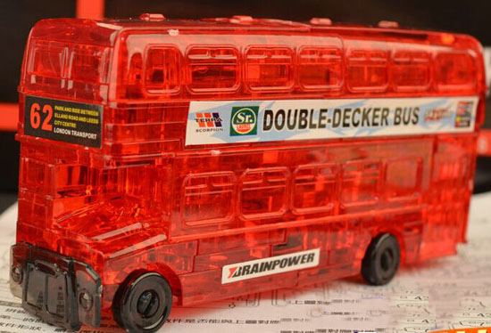 Red / Yellow DIY Plastics London Double Decker Bus Toy