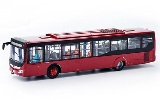 Wine Red 1:42 Scale Die-Cast YuTong City Bus Model