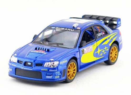 Kids Blue 1:36 Scale 2007 WRC Die-Cast Subaru Impreza Toy