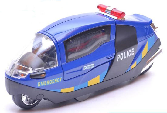 Blue / White / Black Kids 1:12 Scale Die-Cast Police Motorcycle