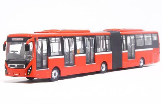 Red 1:64 Scale SunWin SWB6180 BRT Articulated Bus Model