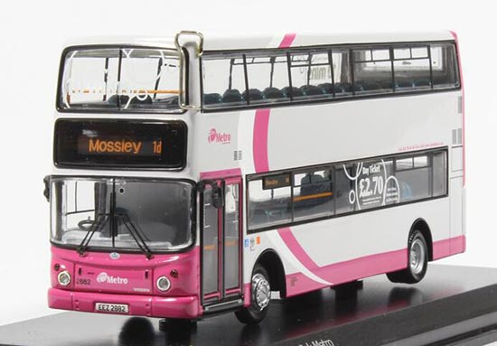 1:76 Scale White-Pink CMNL Alexander Double Decker Bus Model