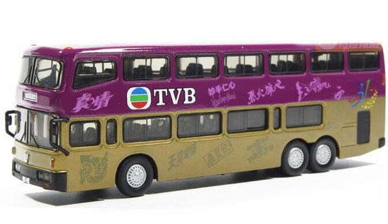 Purple-Golden 1:76 Scale TVB Die-Cast NanJing Double Decker Bus