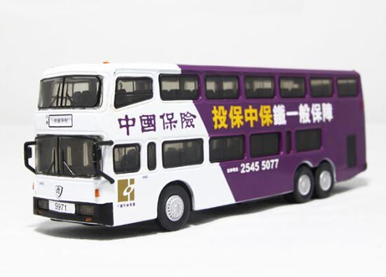 1:76 Scale China Insurance Die-Cast Nanjing Double Decker Bus