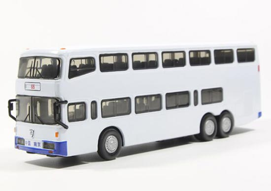 White 1:76 Scale Die-Cast Nanjing Double Decker Bus Model