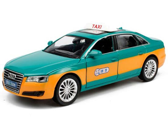 Green-Yellow 1:32 Scale Pull-Back Function Diecast Audi A8 Taxi
