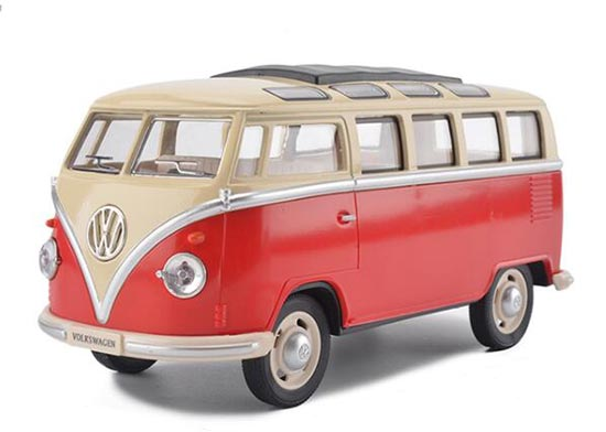 1:24 Scale Green / Red Die-Cast 1962 VW T1 Bus Toy