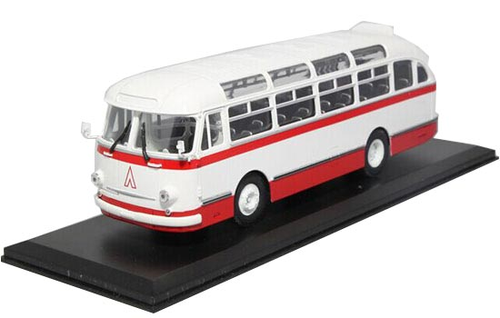 White-Red 1:43 Scale Die-Cast Soviet Union LAZ-695E Bus Model