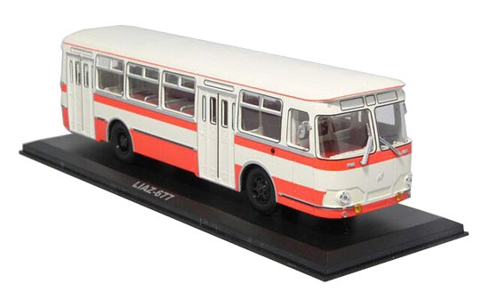 White-Orange 1:43 Scale Die-Cast Soviet Union LIAZ 677 Bus Model