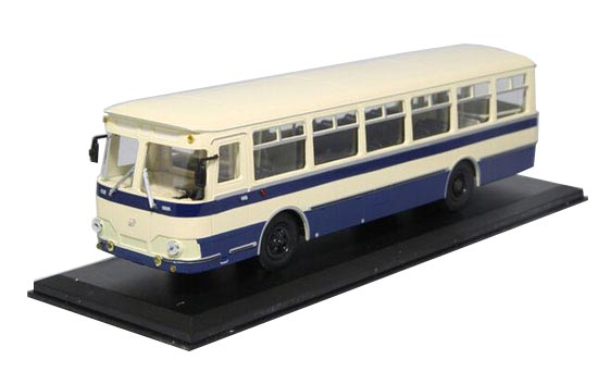 White-Blue 1:43 Scale Die-Cast Soviet Union LIAZ 677 Bus Model