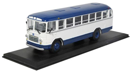 1:43 Scale White-Blue Die-Cast Soviet Union LIAZ 158B Bus Model