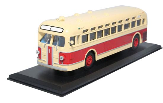 1:43 Scale Beige-Red Die-Cast Soviet Union ZIS 154 Bus Model