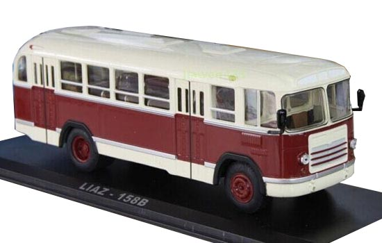 White-Red 1:43 Scale Die-Cast Soviet Union LIAZ 158B Bus Model