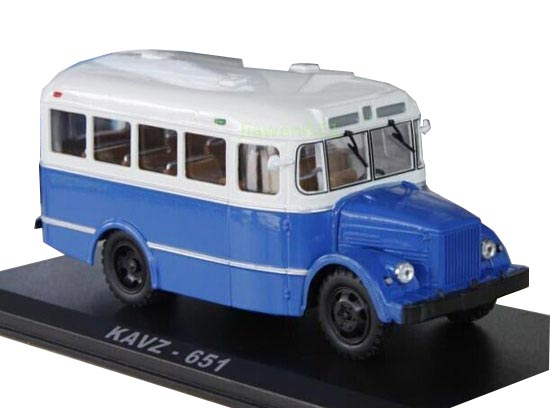 White-Blue 1:43 Scale Die-Cast Soviet Union KAVZ-651 Bus Model