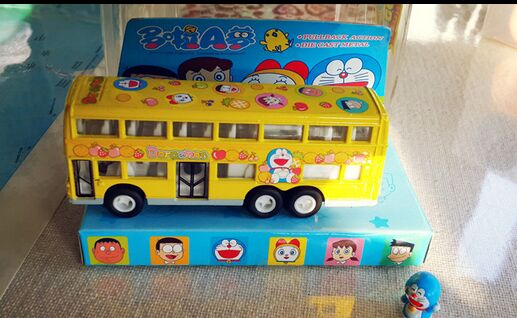 Kids Yellow Lovely Doraemon Die-Cast Double Decker Bus Toy