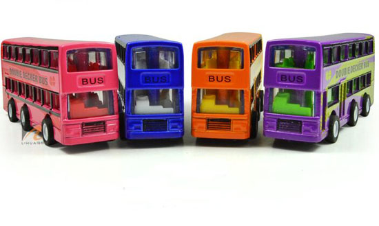 Red / Blue / Yellow /Purple Mini Kids Die-Cast Double Decker Bus
