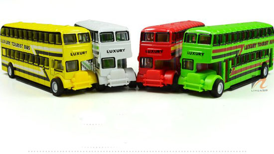 Kids Red / Green / White / Yellow Die-Cast Double Decker Bus Toy