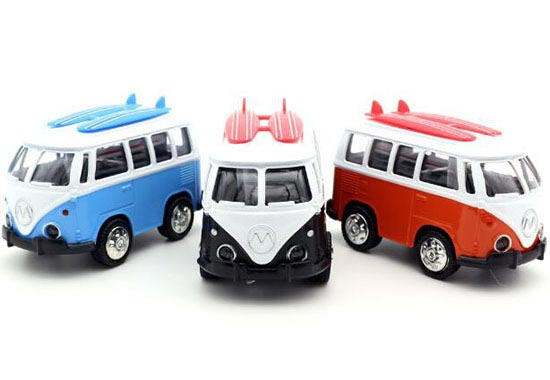 Black / Blue / Orange Kids Mini Scale Die-Cast VW Bus Toy