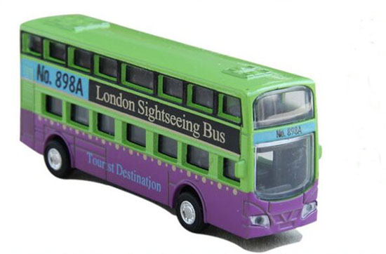 Mini Kids Yellow / Pink /Green Die-Cast London Double Decker Bus