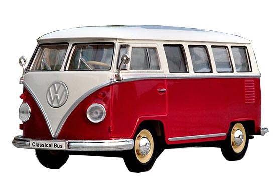 Red-White 1:24 Scale Welly Die-Cast 1963 VW T1 Bus Model