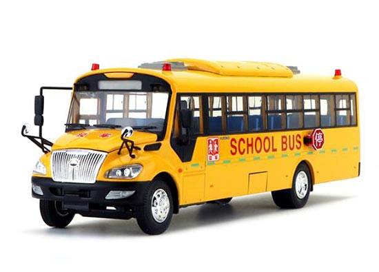 Yellow 1:42 Scale Die-Cast YuTong ZK6109DX School Bus Model