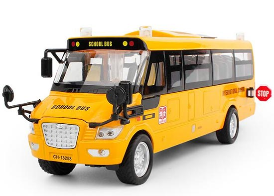 Kids Yellow Pull-Back Function Die-Cast School Bus Toy