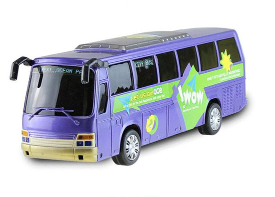 Kids White / Blue Large Scale Plastics Tour Bus Toy