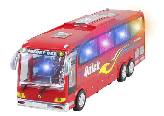 Red / Blue Kids Large Scale Plastics Electric Tour Bus Toy