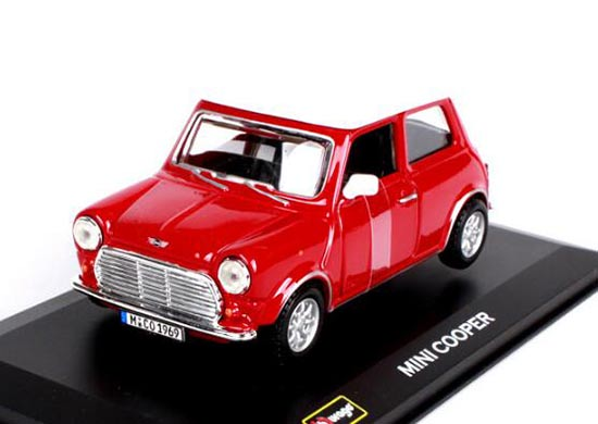 Bburago 1:32 Scale Red / Green Diecast Mini Cooper Model