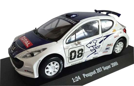 White 1:24 Scale Die-Cast PEUGEOT 207 Super 2000 Model