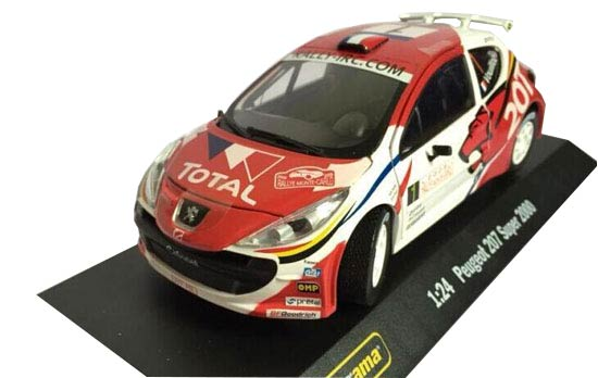 White-Red 1:24 Scale Die-Cast PEUGEOT 207 Super 2000 Model