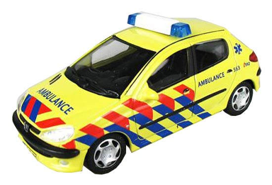 Yellow 1:43 Scale Ambulance Theme Diecast Peugeot 206 Model