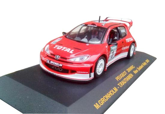 Red 1:43 Scale 2003 New Zealand Rally Diecast Peugeot 206 Model