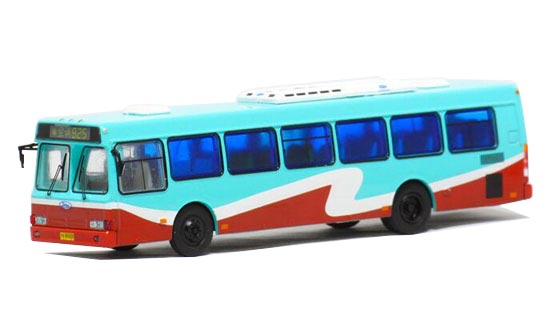 1:76 Blue-Red NO.825 Die-Cast FLXIBLE City Bus Model