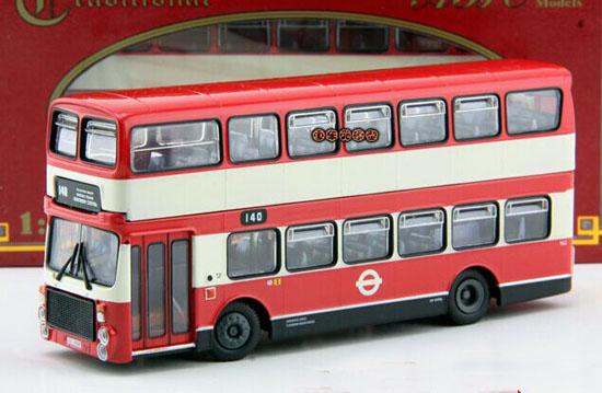 Red-White 1:76 Scale ABC Die-Cast London Double decker Bus Model