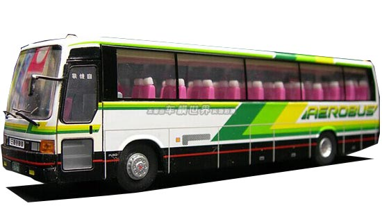 White-Green 1:76 Scale CMNL Die-Cast Mitsubishi Aero Bus Model