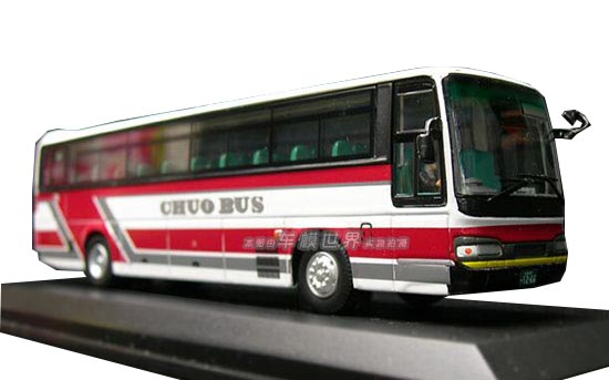 White-Red 1:76 Scale CMNL Die-Cast Hino RFD Bus Model