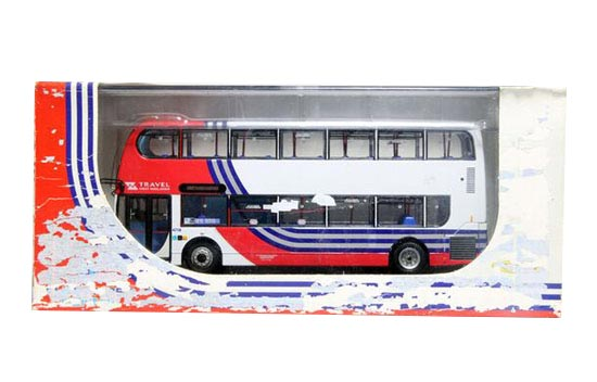 1:76 Scale CMNL Red-White Die-Cast Double Decker Bus Model