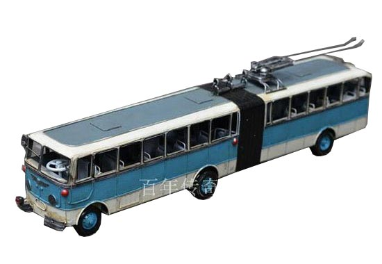 Large Scale Tinplate Vintage BeiJing Articulated Trolley Bus