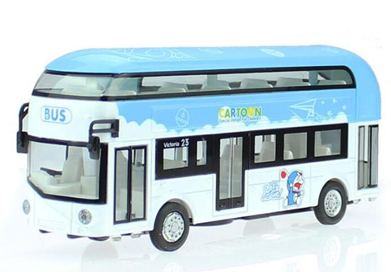 Kids 1:32 Scale Blue-White Die-Cast Doraemon Double Decker Bus