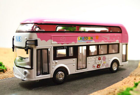 Pink-White Kids Hello Kitty Die-Cast Double Decker Bus Toy