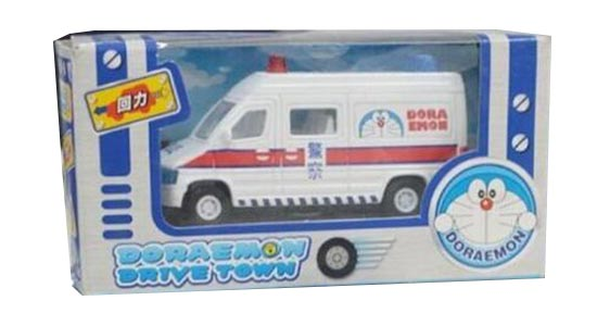 Pull-Back Function White Kids Die-Cast Doraemon Police Bus Toy