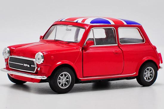 Kids Welly 1:36 Red / White Diecast Mini Cooper 1300 Toy