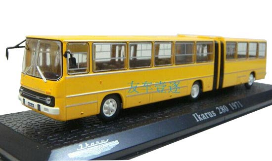 Yellow 1:72 Scale Atlas Ikarus 280 1971 Articulated Bus Model