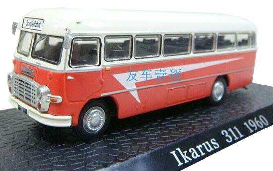 Red-White 1:72 Scale Atlas Die-Cast Ikarus 311 1960 Bus Model